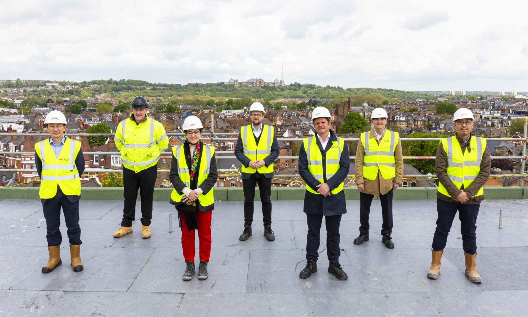 Picture taken from the top of the Uren Building at Hornsey Town Hall with views of Alexandra Palace. From left to right: Nick Poon, Joe Pitt, Katy Ghahremani, James Byrne, John Connolly, Paul Stanley, Scott Lau.